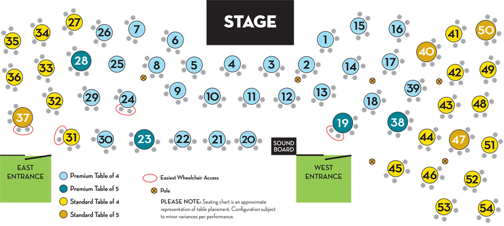 Schauer Arts Center Pikes Peak Cabaret Seating Map